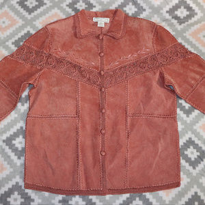 Vintage S.M.H. Pink Leather Intricate Lace Jacket